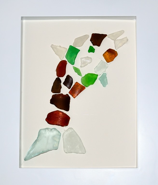 Framed sea glass dolphin