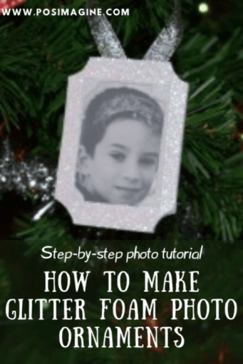 glitter foam photo ornaments