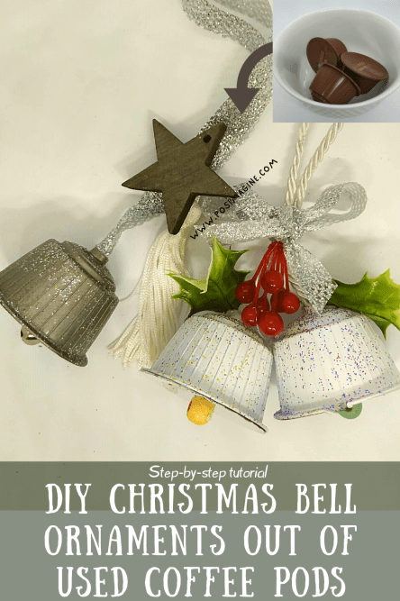 DIY Christmas Bell Ornaments out of used coffee pods craft
