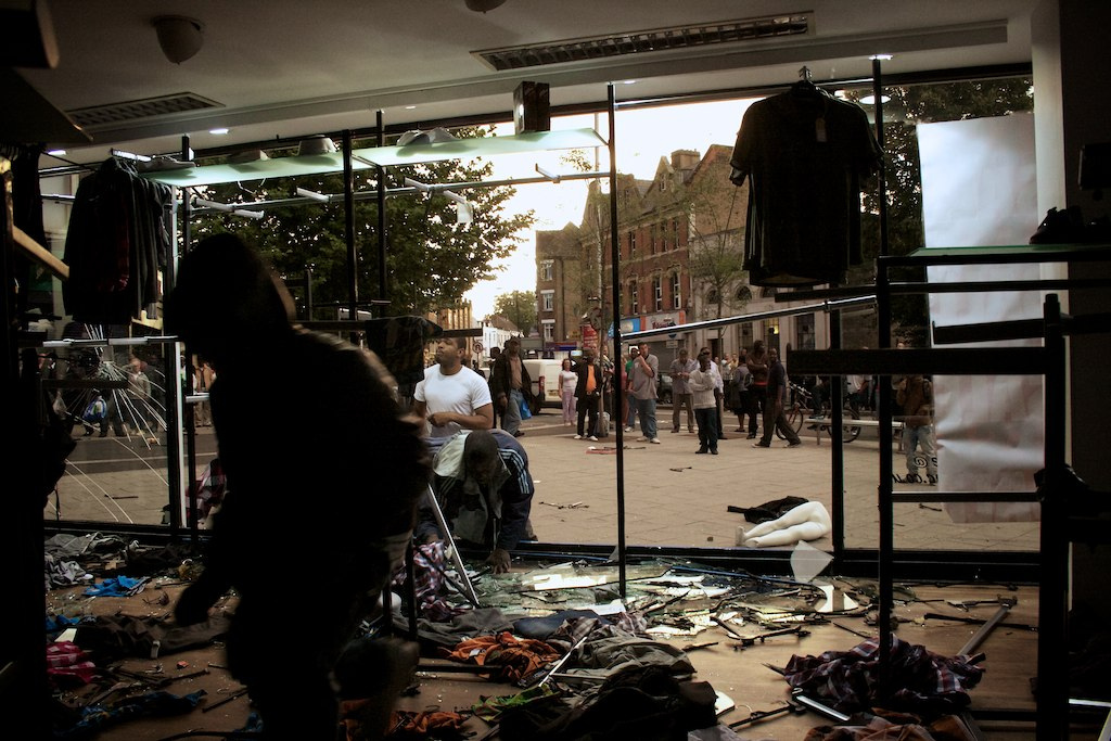 Inside clothes shop as its looted