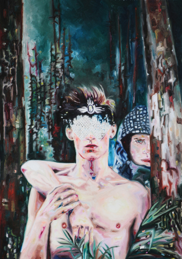 Two boys in the woods, oil on canvas, 65x92 cm, 2012