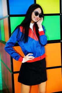 Sunglasses. Ksubi Turtleneck. DKNY Jacket. Monki Skirt. Monki