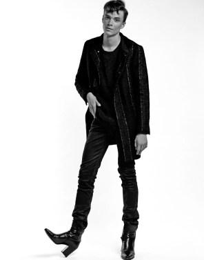 jacket: Karl Lagerfeld sweater: Issey Miyake
