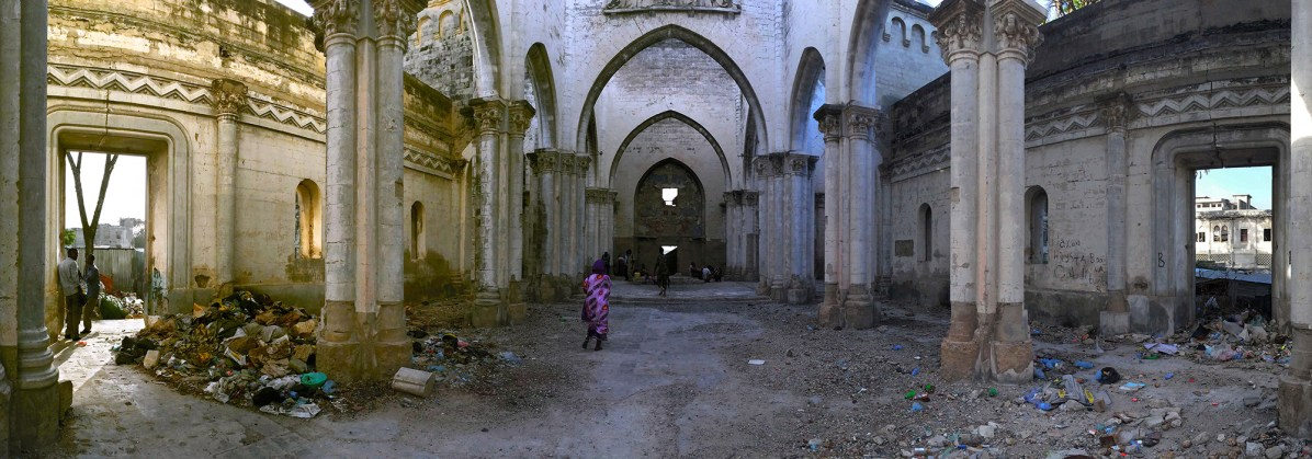 Mogadishu, SOMALIA 22.05.2014The remains of Mogadishu Cathedral in the heart of Mogadishu, Somalia. The cathedral was built in 1928 and was destroyed by Islamist radicals. Rick Findler / Story Picture Agency