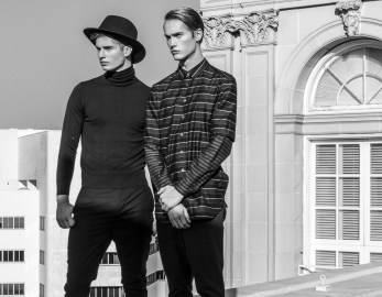 Neels wears 3.1 Philip Lim shirt Kenzo pants Pasha wears Valentino sweater Hugo Boss pants All Saints Hat