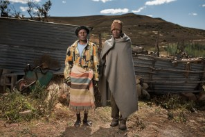 Noebejara Tau with his wife - Mr Tau is 70 years old and worked in the gold mines for 28 years. He has silicosis and is unsure if he ever eceived any compensation.