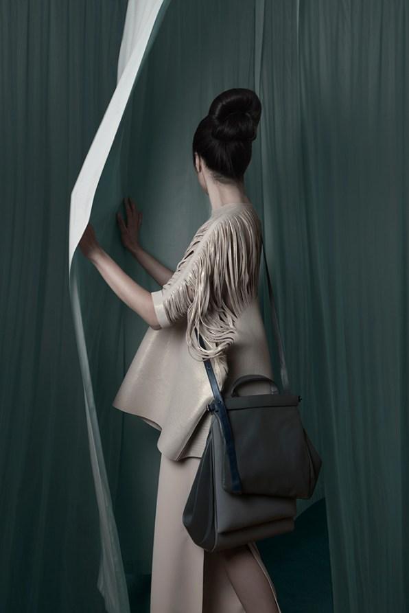 Top: Jolka Wiens; trousers: Jude Finies: handbag: Olga Jazepova