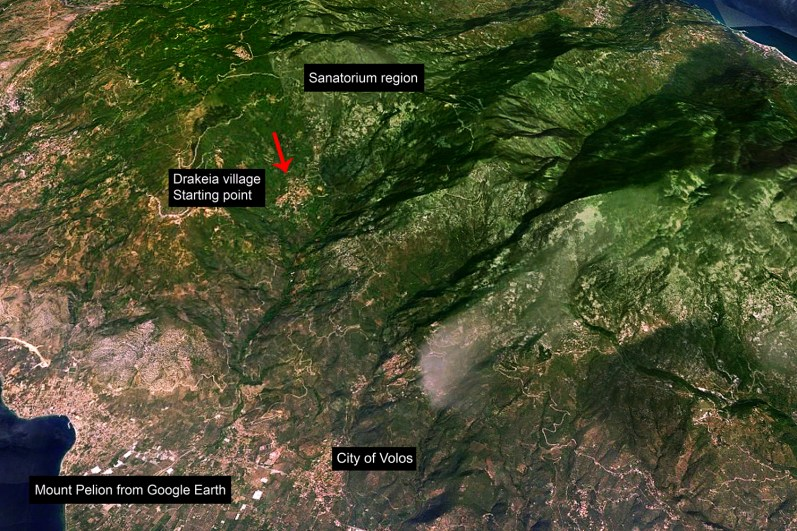 A Google Earth screenshot shows the villages of these young farmers, on the top of mount Pelion, Greece.