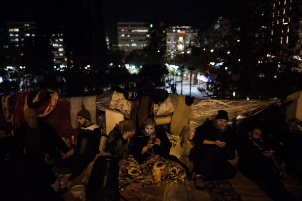 Syrian refugees camped outside parliament for weeks because none of them had applied for asylum or shelter.The Syrian refugees, including women and children, have defied the rain and cold to sleep on the pavement opposite parliament