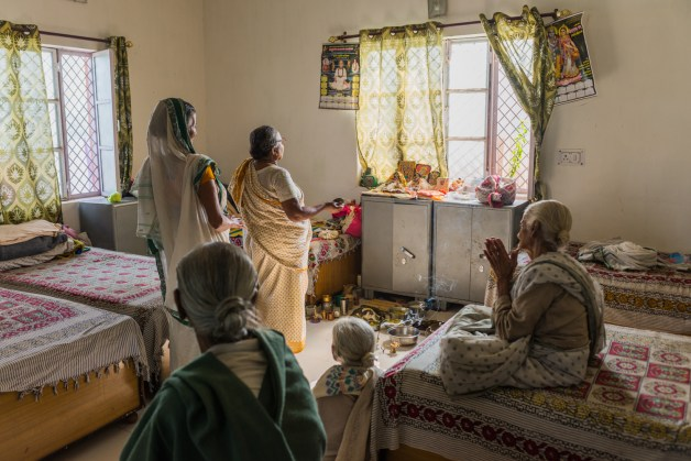Widows come to the holy city of Vrindavan in order to devote the rest of their lives to Lord Krishna and find salvation (moksha) and peace.
