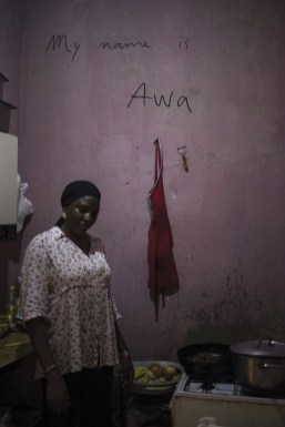 Palermo, South Italy,18 September 2015. Awa, from Senegal, in her humble kitchen. She lives in Ballarò area, where most of the migrants of the city live.