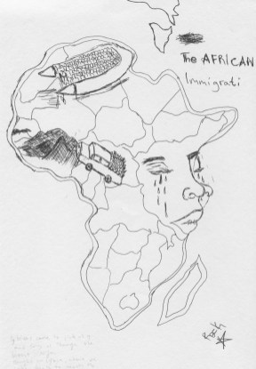 Milazzo, South Italy, 25 September 2015. Abdullaie's drawing depicting Mother Africa crying for his children, forced to flee and experience a dangerous journey.