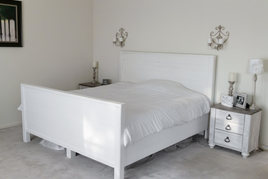 DIY Farmhouse Style Bed Frame - Positively Beautiful Life