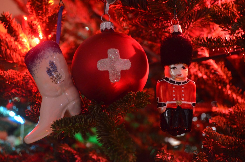 Texan, Swiss, and British Xmas Ornaments