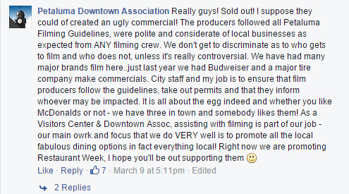 Petaluma Downtown Association Facebook Reply