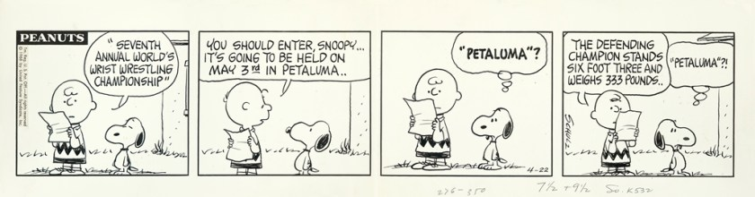 Snoopy and Charlie Brown Talking About Petaluma Wrist Wrestling Championships