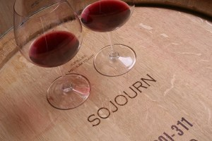 sojourn barrel with wine glasses