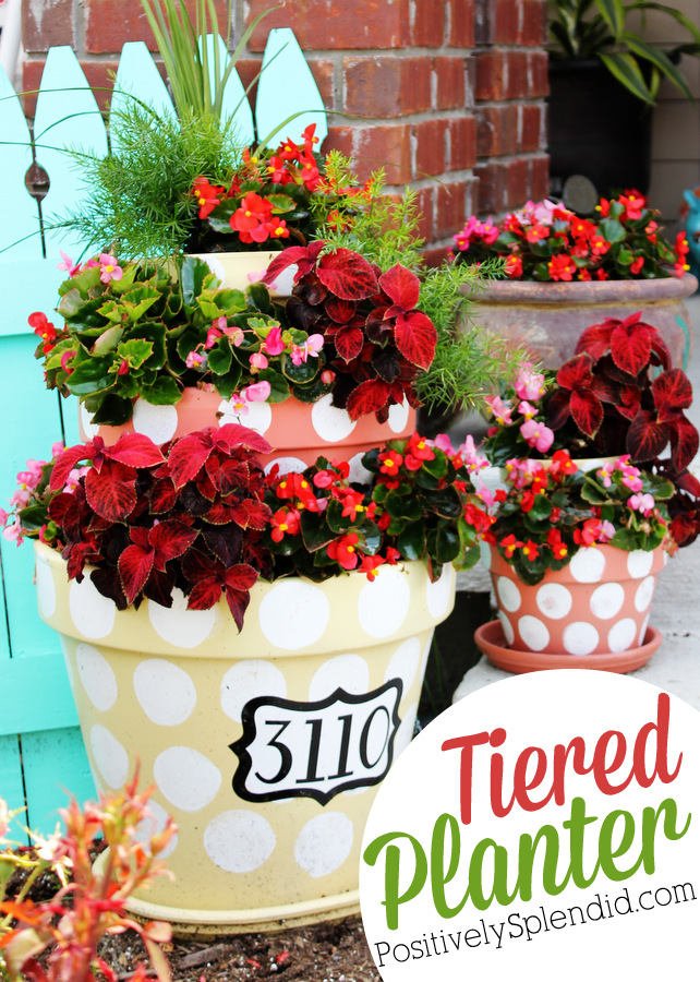This tiered planter at Positively Splendid is so perfect for sprucing up outdoor spaces!