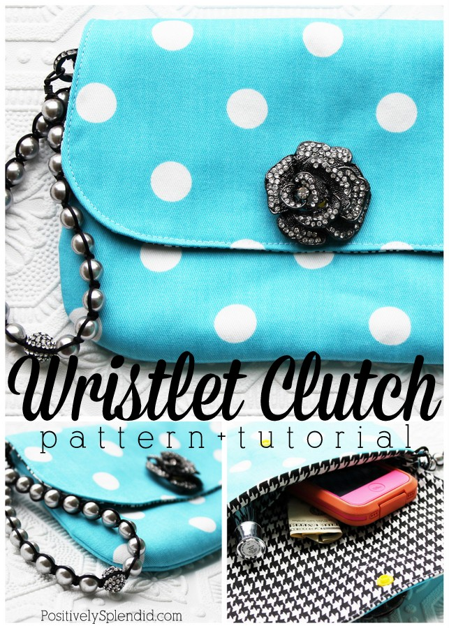 Wristlet clutch sewing pattern and tutorial
