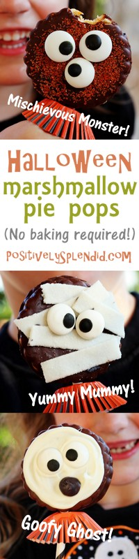 Adorable Halloween marshmallow pie pops at Positively Splendid. No baking required, and made in just minutes!