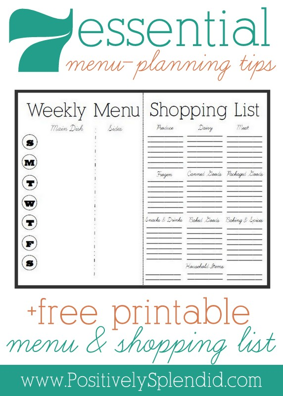 Part 2 in the terrific meal-planning series from Positively Splendid: 7 Essential Meal-Planning Tips. She even provides a free menu and shopping list!