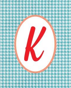 Blue Monogram K