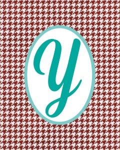 Red Monogram Y