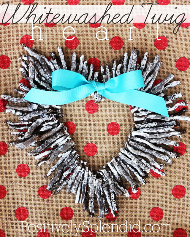 Whitewashed twig heart wreath - So pretty for Valentine's Day!