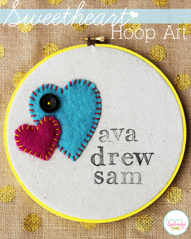 Adorable valentine hoop art. This would be perfect for displaying kids' names, or the name of a happy couple!