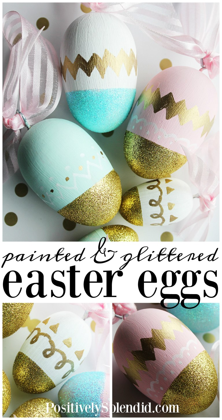 Painted and glittered DIY Easter eggs--so pretty, and can be used year after year!