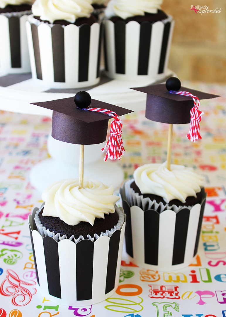 Graduation Cap Cupcake Toppers Easy And Adorable DIY