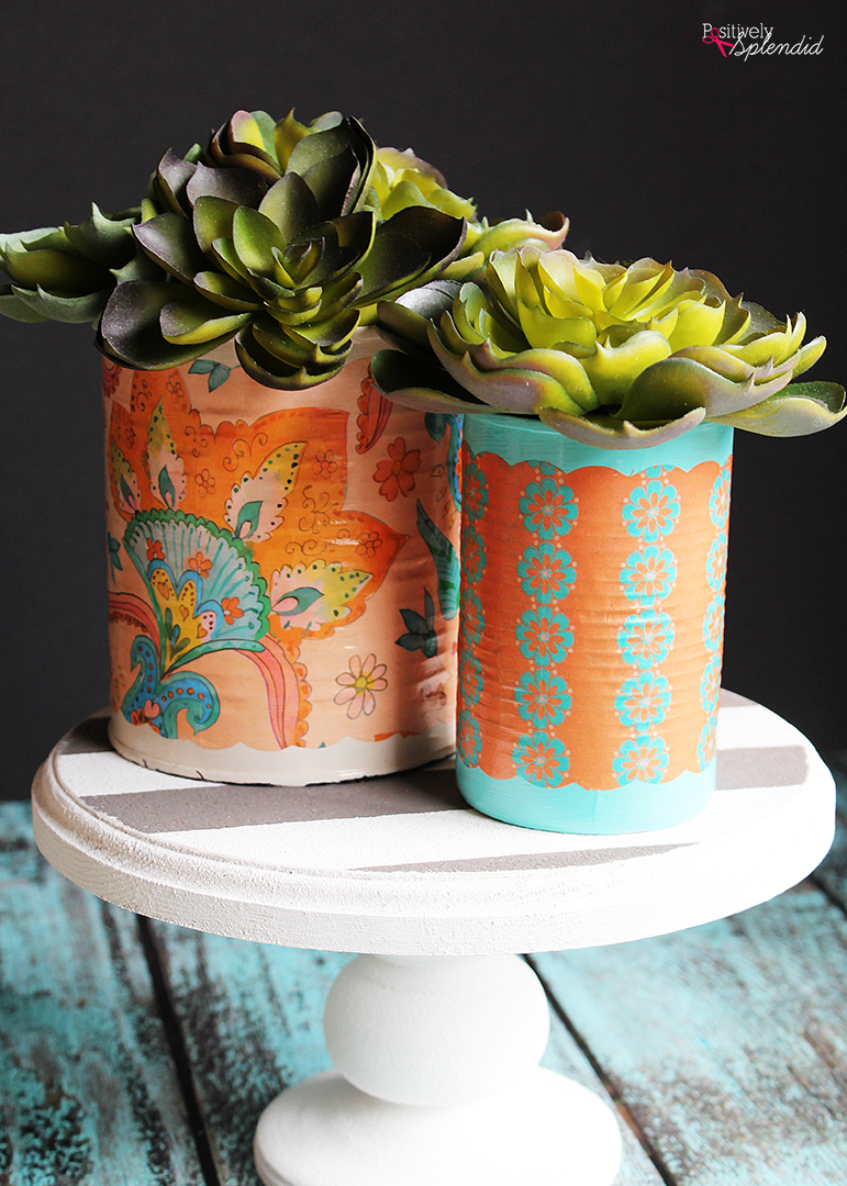DIY Mod Podge Can Vase - Such a great upcyle project! #plaidcreators