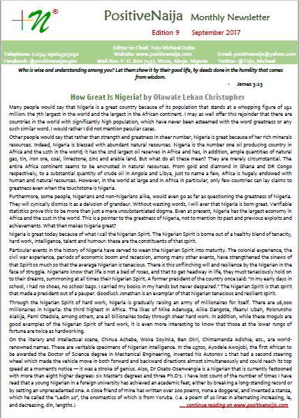 PositiveNaija Monthly Newsletter September 2017