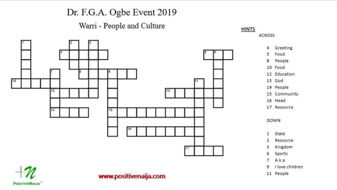 FGA Ogbe Warri Crossword 2019