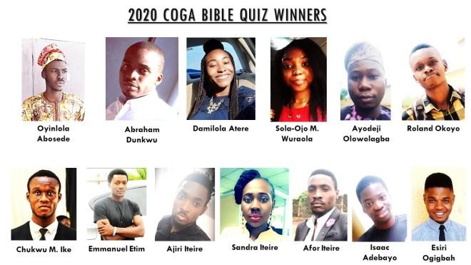 Winners of the 2020 COGA Monthly Bible Quiz