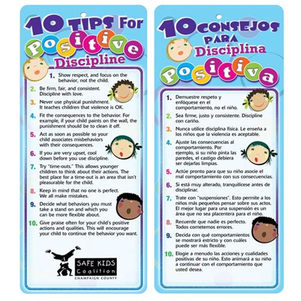 10 Tips For Positive Discipline Two Sided Bilingual Glancer