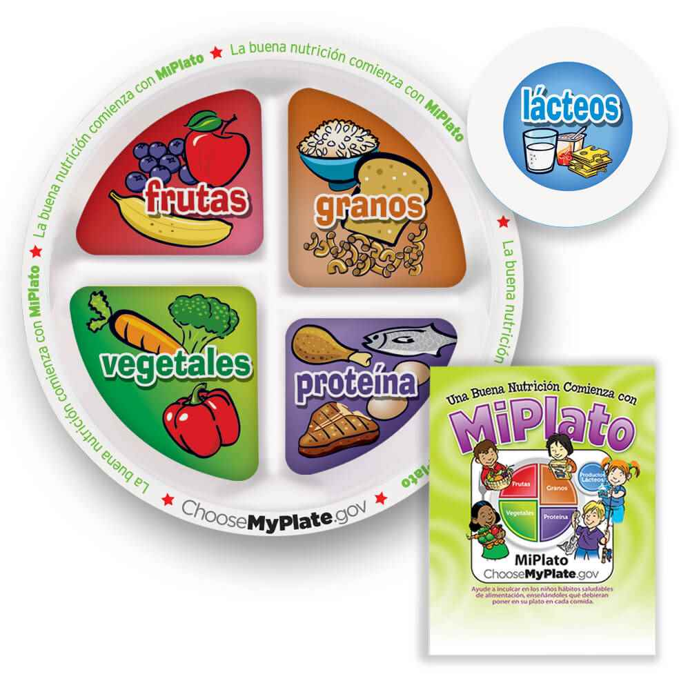 medium resolution of 9 1 4 myplate child s portion meal plate with educational card spanish