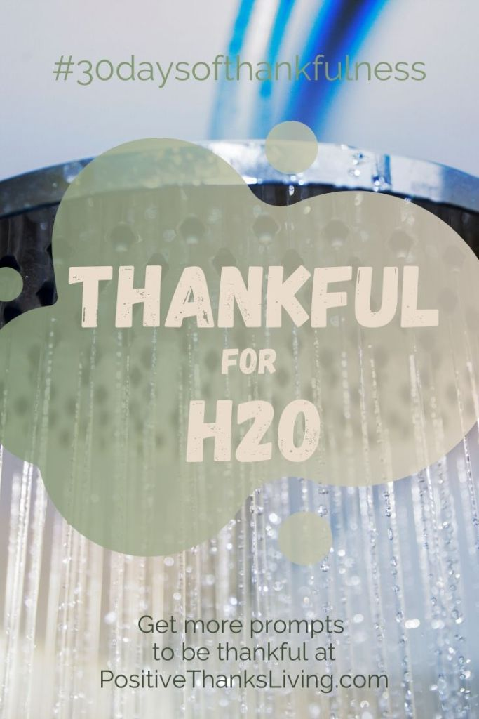 Thankful for H20 - just think of all the ways in which you use water - isn't it wonderful to have it on tap?