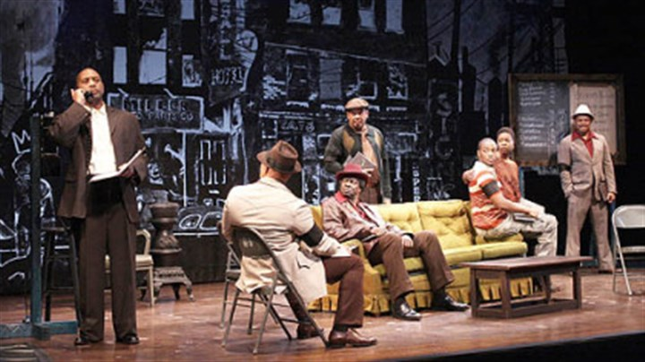 """The 'Jitney' cast The cast of """"Jitney"""" at the final moment of the play: (left to right) Hassan El-Amin (Booster), John Beasley (Turnbo), Asemo Omilami (Shealey), Eugene Lee (Doub), Anthony Mackie (Youngblood), Roslyn Ruff (Rena) and Montae Russell (Philmore)."""