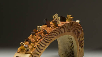 "Woodworking exhibition ""The Bridge #2"" is one of the pieces by Raphael ..."