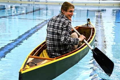 Elizabeth Forward senior Tyler Wachs Elizabeth Forward senior Tyler Wachs built a canoe in the school's new FABLab, which allowed him to design the canoe on a computer that then cut the pieces for him. Here, he gives the canoe its second voyage in the high school pool.