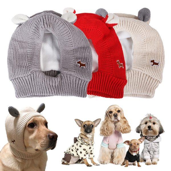 Zimná teplá pletená čiapka pre domácich miláčikov 1