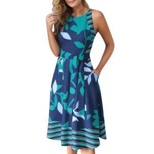 Letné kvetinové plážové šaty s opaskom bez rukávov s okrúhlym výstrihom (dve farby)  15