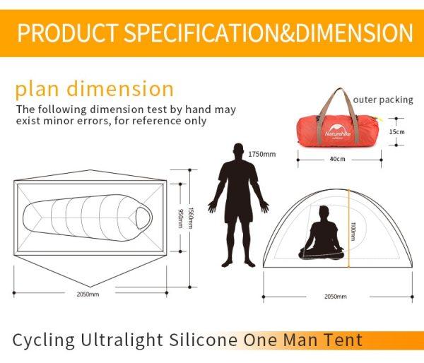 Cyklistický kempingový stan pre 1 osobu Naturehike Ultralight 20D/210T NH18A095-D 14