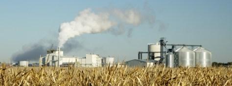 Ethanol plant in field