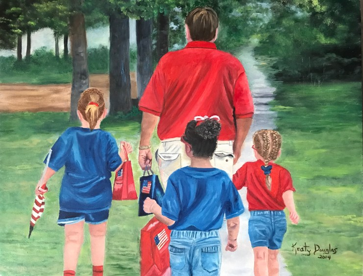 My aunt, Kristy Douglas, painted this picture of my dad walking home from the Fourth of July parade with his granddaughters.