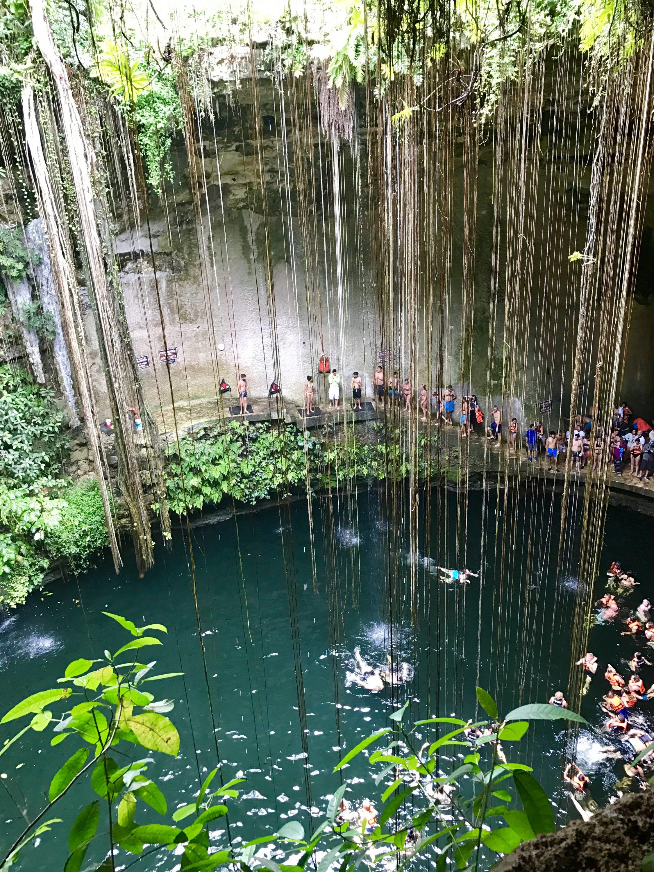 Our swim in Cenote Ik Kil in Mexico