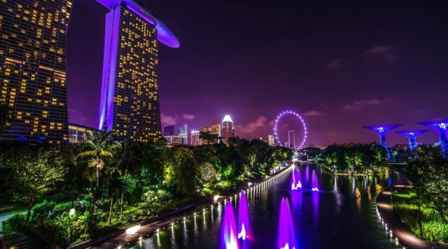 Marina Bay at night, includes the Gardens by the Bay and the Marina Sands