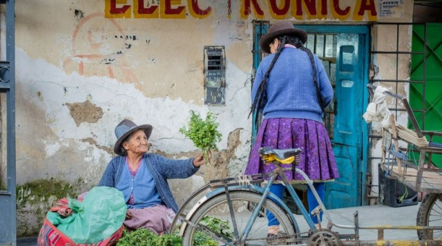 Two women in Latin American country. One woman is offering a bouquet of plants with a smile. - Disappointing Destination