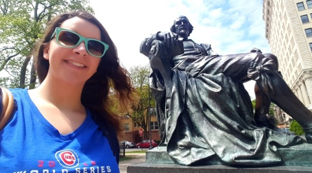 Nicole in front of the monument to William Shakespeare, located in Lincoln Park - Chicago, IL.